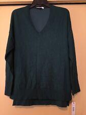 NEW DKNYC Dark Green Knit Top, 3/4 Sleeves, Silky Back, Size Medium, NWT