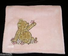 Pink Classic Winnie The Pooh Flowers Baby Blanket Bear Fluffy Disney
