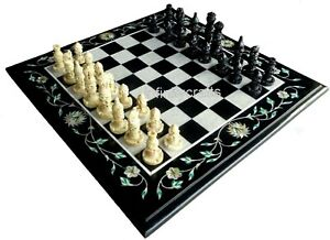 14 Inches Marble Coffee Table Top Inlay Check Pattern Chess Board Table for Kids