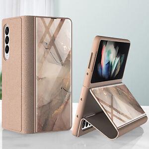 For Samsung Galaxy Z Fold 3 Shockproof Luxury Creative Glass Leather Flip Case