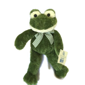 Vintage Princess Soft Toys Plush Green Frog Gingham Bow Toy NWT Retired