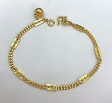 "24 Karat Yellow Gold Solid Bracelet 6.5"" w/ Accent"