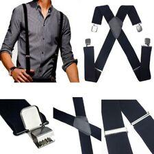 Leather Clip-On Elastic Adjustable Braces Trouser Suspenders For Mens