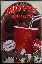 """Plaque Métal Vintage """"Movie Treats"""" 20 X 30 cm Neuf Emballé"""