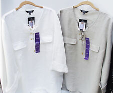 ELLEN TRACY WHITE or BEIGE LINEN ¾ SLEEVE CASUAL TUNIC TOP BLOUSE XXL 2X NEW
