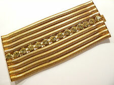"Vtg 9 Strand Snake Chain & Citrine Rhinestone Old Hollywood Bracelet 3 1/4"" Wide"