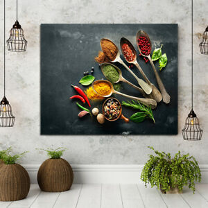 Spices Spoon Wall Art Canvas Print Picture Poster for Kitchen Restaurant