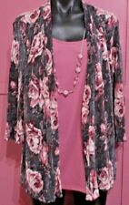 Ladies Millers Pink Floral Top with Necklace size 16