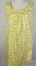 Sunny Leigh shift short dress w/ pockets Size 14 sleeveless Yellow white