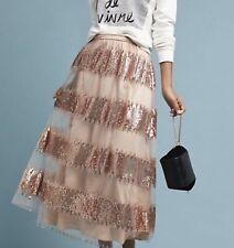 Eva Franco Sequin Skirt Maxi Striped Mesh Blush Nude 12 NWT