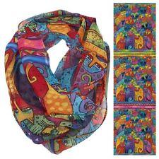 "Laurel Burch Feline Cats Tribe Artistic Infinity Scarf Wrap 19.5""x35"""
