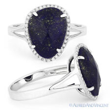 Diamond Halo Right-Hand 14k White Gold Ring 3.24 ct Blue Lapis Lazuli Round Cut