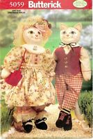 "Butterick 5059 143 Decorative CAT Dolls 21"" Sewing Pattern UNCUT FF NEW VTG"