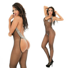 Women Sexy Crotchless Fish Net Lingerie Body Stocking Sleepwear Underwear Black