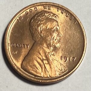 1917 LINCOLN CENT, RED BRILLIANT UNCIRCULATED