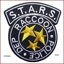 "3,5"" Resident Evil S.T.A.R.S. Raccoon Police Black Costume Logo Patch Iron on"