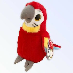 KEEL TOYS Sparkle Eyes PARROT Bird Soft Toy Plush Stuffed Red Multi Tags 20cm