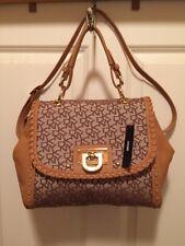 DKNY Logo T&C W/Whipstich D HW Chino-Tan Satchel $265 Handbag NWT Donna Karan