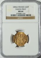"""1896A Gold 20 Franc NGC MS64 -- """"Lucky"""" Angel Coin (#10034)"""