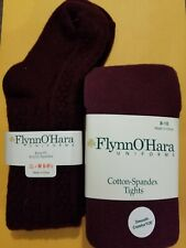 New Flynn O'Hara Girls Youth Socks 8-9.5 & Tights Size 8-10 Dark Maroon Nwt