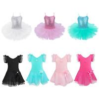 Girls Ballet Tutu Dress Leotard Gymnastics Kids Ballerina Dancewear Costume