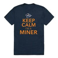 University of Texas at El Paso Miners UTEP NCAA College Cotton Keep Calm T-Shirt