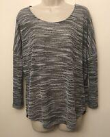 Olive & Oak White Sweater Lightweight Semi Sheer 34 Sleeve
