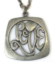 "VINTAGE ""LOVE"" NECKLACE PENDANT SILVER TONE METAL CHAIN COSTUME JEWELRY"