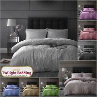 CRINKLE CRUSHED VELVET DUVET COVER SET  Soft Reversible Quilt Covers Bedding Set