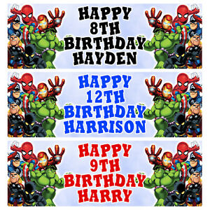 MARVEL SUPER HEROES Personalised Birthday Banner - Birthday Party Banner - 1x3ft