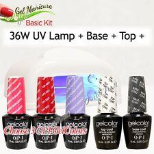 GEL MANICURE BASIC KIT: 36W UV LAMP Pro + Base Top + Choose 3 OPI GelColor SET