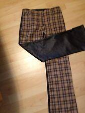 VINTAGE GOTH PUNK EMO PLAID PVC BOOT CUT PANTS BLACK BROWN  Size 3/5/7