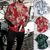 US Mens Hawaiian Summer Floral Printed Beach Short Sleeve Camp Shirt Tops Blouse