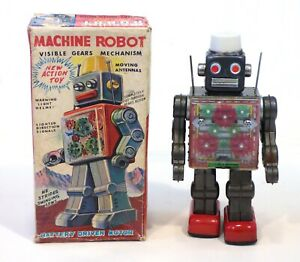 """1960s Original Tin Japan Original """"MACHINE ROBOT"""" With Box!!"""