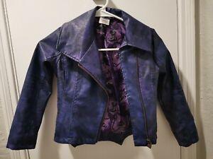 DISNEY Japan Girls Purple Faux-Leather Moto Jacket Dragon Cobra Pirate Size 5/6