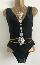 NEW Ex ASOS: Black Fuller Bust Jewel Harness Plunge Party Holiday Swimsuit 30-38