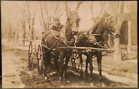 Real Photo Postcard RPPC ~ Man Drives Wagon Pulled By Matched Set of Horses