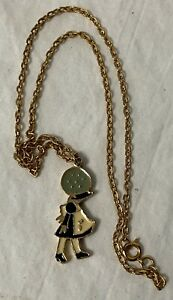 Vintage 1970's Holly Hobbie Charm Necklace Gold tone chain