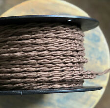 16 Gauge Brown Cotton Cloth Covered Twisted Wire - Vintage Braid Style Lamp Cord