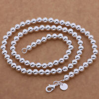 925 silver Fashion wedding 8MM bead chain Beautiful Necklace women men jewelry