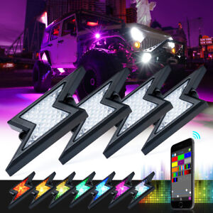 Xprite 4 Pods RGB LED Rock Lights Kit Underglow Bluetooth APP Neon Light System
