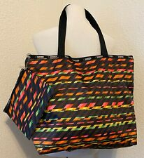 Lesportsac Tote Bag & Cosmetic Bag Set Multiple Color Strips New