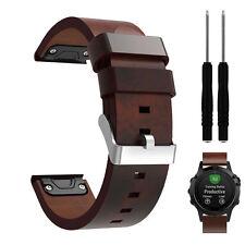 DE Luxus Leder Uhrenarmband Ersatz Watch Band Mit Tools Für Garmin Fenix 5 GPS