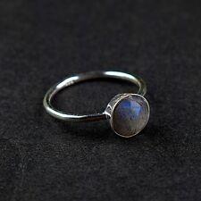 925 Sterling Silver Labradorite Woman Fashion Design Stackable Gemstone Ring