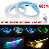 2x 24'' / 60CM RGB LED Flessibile Slim Striscia Luce Faro DRL Flusso Giri