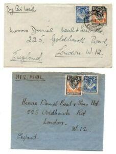 NORTHERN RHODESIA STAMPS & POSTMARKS ON COVERS LIVINGSTONE & KITWE TO UK 1940