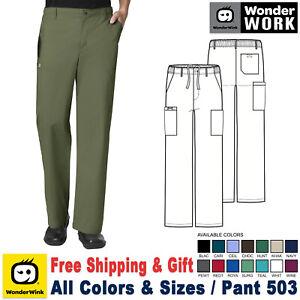 WonderWink Scrub WORK Men's Straight Leg Fit Back Elastic Cargo Pant 503
