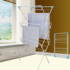 Folding Winged 3 Tier Clothes Airer Indoor Outdoor Laundry Washing Drying Rack