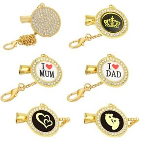 Rhinestone Baby Pacifier Clip Chain Bling Pacifier Holder Baby Dummy Chain Clip