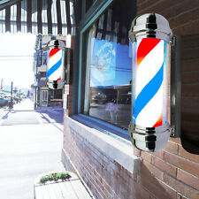 "30"" Barber Shop Pole Red White Blue Rotating Light Stripes Sign Hair Salon New"